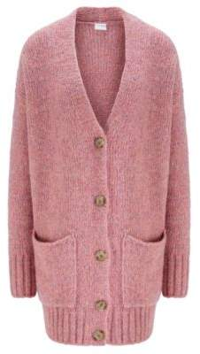 BOSS Relaxed-fit cardigan with drop shoulder and V neckline