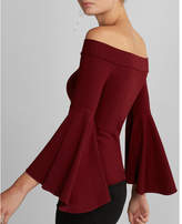 Express fitted off the shoulder bell sleeve top