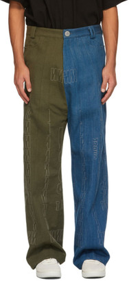 NAMESAKE Blue and Green Paneled Maurice Jeans