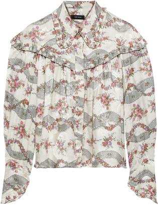Isabel Marant Janelle Printed Silk-blend Satin-jacquard Blouse
