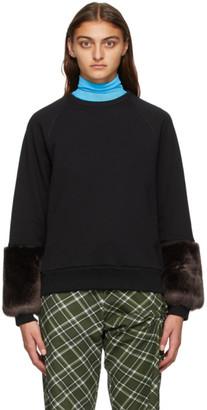 Dries Van Noten Black Faux-Fur Cuff Sweatshirt