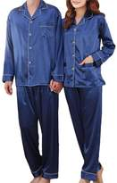 Coolmee Women's Long Sleeve Charmeuse Pajama Sets Noble Thin nightgown L