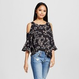 Mossimo Women's Cold Shoulder Woven Top with Floral Pattern Black