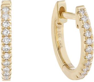 ADINAS JEWELS 14k Gold Diamond Huggie Earrings, 10mm