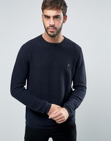 Farah Hastings Crew Sweater Texture Knit Slim Fit in Navy