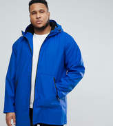 Asos Plus Shower Resistant Rain Coat With Borg Lined Hood In Blue