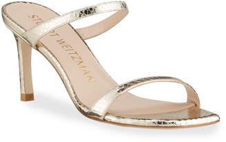 Stuart Weitzman Aleena 75 Naked Square-Toe Metallic Two-Band Slide Sandals