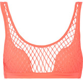 Agent Provocateur Shannon Stretch-fishnet Bikini Top - Coral