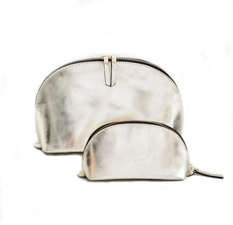 Vida Vida Lunar Gold Leather Wash Bag and Make-Up Bag Set