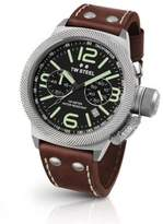 TW Steel Canteen 45MM Hammered Steel & Leather Strap Watch