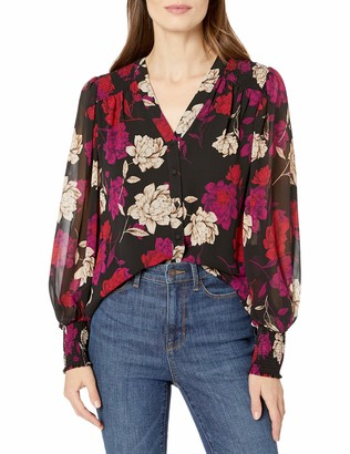 Vince Camuto Women's Long Sleeve Smocked Cuff Enchanted Floral Blouse