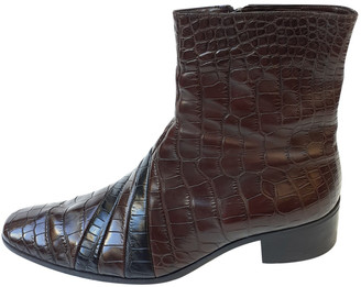 Gucci Brown Crocodile Boots