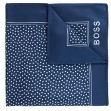 HUGO BOSS Silk Pocket Square With All Over Digital Print - Light Blue
