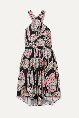 Isabel Marant Jan Printed Pleated Crepe Mini Dress - Black