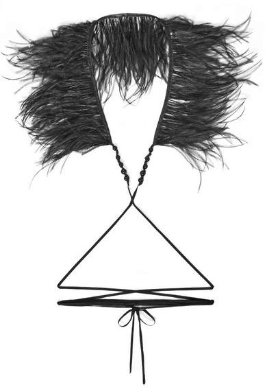 Ann Demeulemeester Cotton, Bead And Feather Necklace - Black