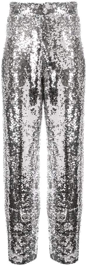 Bouguessa sequinned straight leg trousers