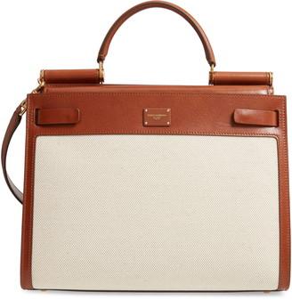 Dolce & Gabbana Large Sicily 62 Canvas & Leather Satchel
