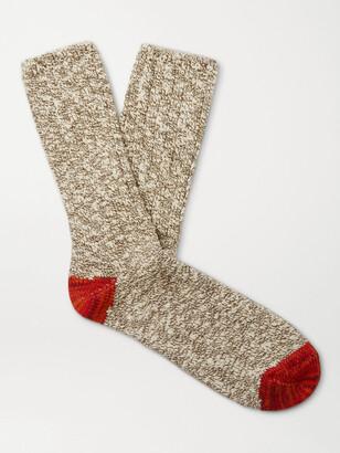Thunders Love Flamme Ribbed Melange Cotton-Blend Socks