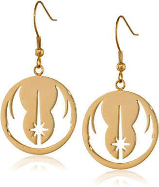 Star Wars Jewelry Jedi Order Gold IP Stainless Steel Dangle Hook Drop Earrings (SALES1SWMD)
