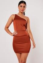 Missguided Rust Double Strap Stretch Satin Mini Dress
