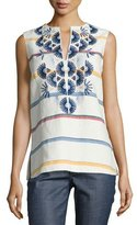 Tory Burch Avery Embroidered Multi-Striped Tunic, New Ivory Deck