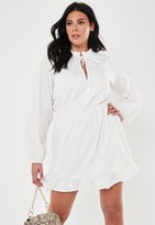 Missguided Plus Size White Poplin Keyhole Skater Dress