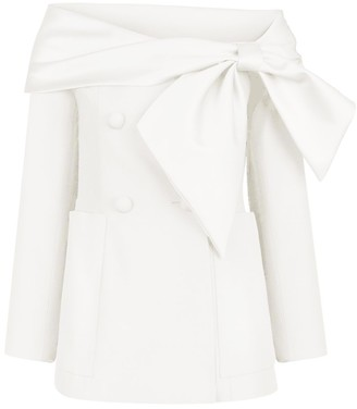 Dice Kayek Boat Neck Jacket in Off White