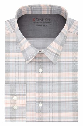 Calvin Klein Men's Dress Shirt Xtreme Slim Fit-Thermal Stretch Print