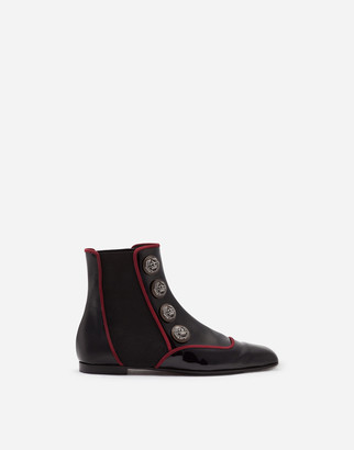 Dolce & Gabbana Patent Leather Chelsea Boots With Buttons