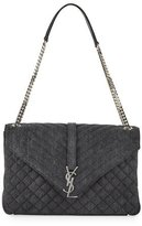 Saint Laurent Sunset Large Denim Chain Shoulder Bag, Gray