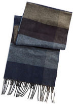 Black Brown 1826 Colorblocked Plaid Scarf