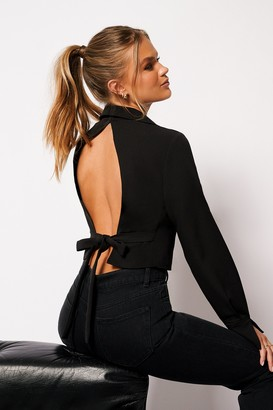 Hanna Schönberg X NA-KD Open Back Tie Shirt