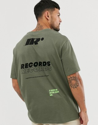 Bershka oversized t-shirt in khaki with record print-Green