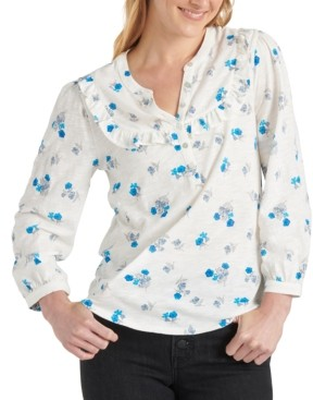 Lucky Brand Cotton Printed Ruffled Henley Top
