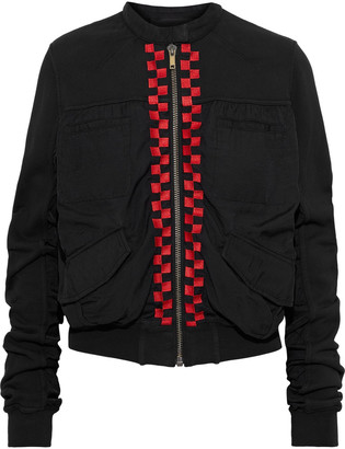 Haider Ackermann Embroidered French Cotton-terry And Twill Bomber Jacket