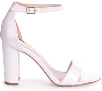 Linzi DAZE - White Patent Barely There Block High Heel