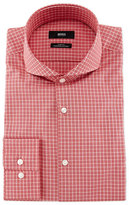 HUGO BOSS Dwayne Slim-Fit End-On-End Check Dress Shirt, Red/White