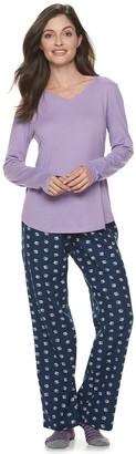 Sonoma Goods For Life Women's Knit & Flannel 3 Piece Pajama Set With Socks