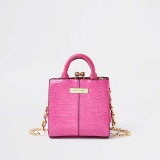 River Island Womens Pink croc mini lady handbag