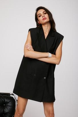 Nasty Gal Womens Take It or Sleeve It Sleeveless Blazer Dress - Black