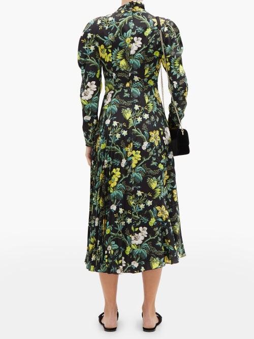 Thumbnail for your product : Erdem Irwin Pleated Floral-print Silk-satin Midi Dress - Black Multi