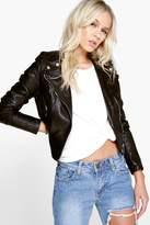 boohoo Petite Charlotte PU Biker Jacket black