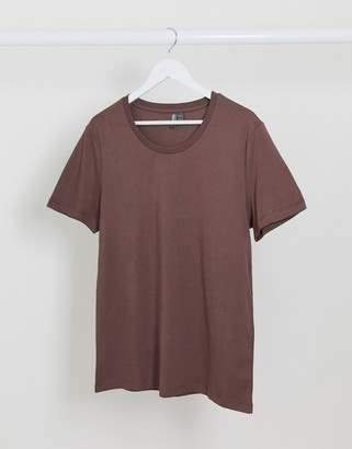 ASOS DESIGN t-shirt with scoop neck in brown