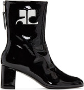 Courreges Black Patent Leather Zipped Boots