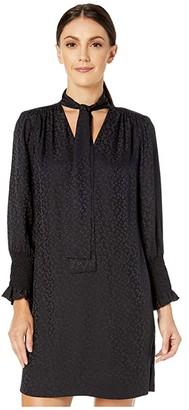 Rebecca Taylor Long Sleeve Cheetah Jacquard Dress (Black) Women's Clothing
