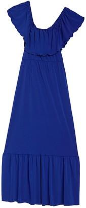 Velvet Torch Ruffled Off-the-Shoulder Maxi Dress