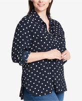 Tommy Hilfiger Plus Size Polka-Dot Utility Shirt, Created for Macy's