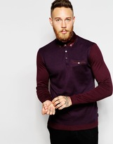 Ted Baker Jersey Long Sleeve Check Polo Shirt - Red