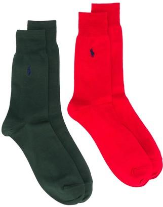 Polo Ralph Lauren Embroidered Logo 2-Pack Socks