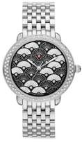 Michele Serein 16 Black Fan Diamond & Stainless Steel Bracelet Watch